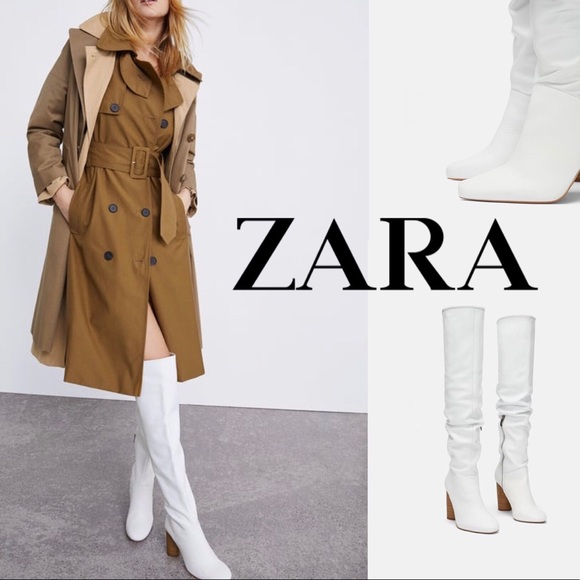 Zara Thigh High White Leather Boots Nwt